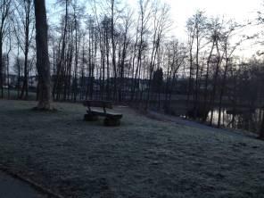 23. März 2015 - Eine Bank am Teich